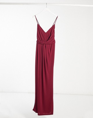 Lipsy cami maxi dress with wrap skirt in red