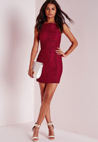 Missguided Square Neck Lace Bodycon Dress Burgundy