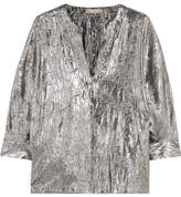 Michael Kors Crushed Silk-blend Lamé Blouse - Silver