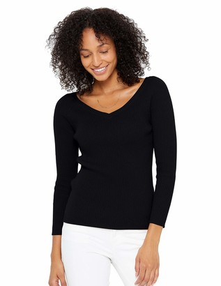 State Cashmere Womens Knitted Scoop V-Neck Jumper 100% Pure Cashmere Long Sleeve Sweater Ribbed Pullover (X-Large
