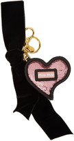 Miu Miu Pink and Black Heart and Bow Keychain