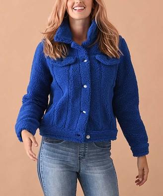 Elliott & Vine Women's Fleece Jackets Blue - Blue Fleece Teddy Trucker Jacket - Women & Plus