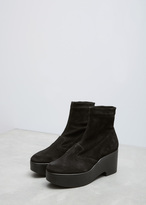 Robert Clergerie Black Suede Slip On Wedge Ankle Boot