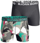 Bjorn Borg Block Camo Print Trunks, Pack Of 2, Black/grey