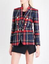 Balmain Checked double-breasted tweed blazer