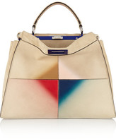 Fendi Peekaboo Large Patent Leather-trimmed Suede Tote - Cream