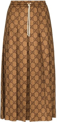 Gucci GG print pleated midi skirt