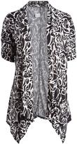 Glam Black & White Floral Open Cardigan - Plus