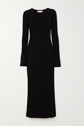 LOULOU STUDIO Uturoa Ribbed Silk And Cotton-blend Maxi Dress - Black