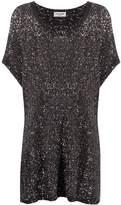Saint Laurent black and silver sequin kaftan dress