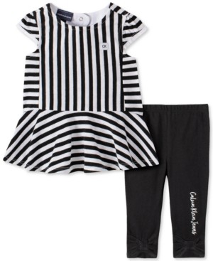 Calvin Klein Baby Girls Striped Tunic Legging Set