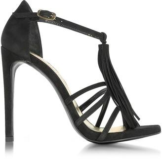 Stuart Weitzman Frabtion Black Suede Tassel Sandals