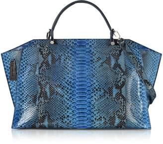 Ghibli Deep Blue Python Leather Large Satchel Bag