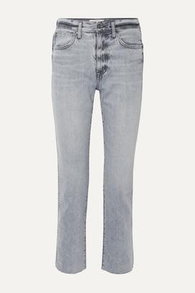 SLVRLAKE Hero Cropped Frayed High-rise Straight-leg Jeans - Gray