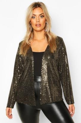 boohoo Plus Sequin Metallic Collarless Jacket