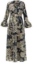 Le Sirenuse Le Sirenuse, Positano - Tracey Paisley-print Fluted-sleeve Cotton Dress - Womens - Navy Print