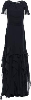 Halston Tiered Georgette Gown
