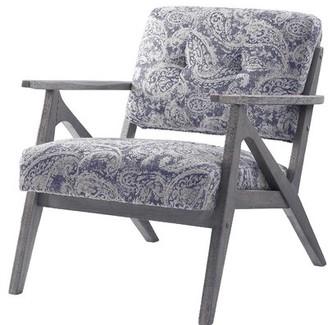 Wrought StudioTM Nisswa Armchair Wrought Studio Fabric: Light Gray, Leg Color: Brown Brushed