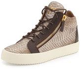 Giuseppe Zanotti Men's Snake-Embossed Leather Mid-Top Sneaker, Light Brown