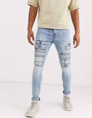 Sixth June utility pocket skinny jean in blue