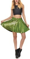 Lady Queen Women's The Little Mermaid Scales Flared Skater Mini Skirt XL