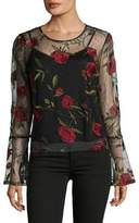 Lord & Taylor Embroidered Floral Lace Top