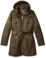 Vince Camuto Women's Mid Length Quilted Jacket with Belt