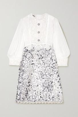 Miu Miu Embellished Chiffon, Lace And Tulle Mini Dress - Silver