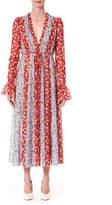 Carolina Herrera Floral-Striped V-Neck Midi Dress