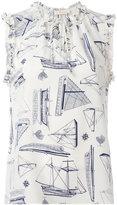 Tory Burch boat sketch print top - women - Silk - 10