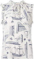 Tory Burch boat sketch print top - women - Silk - 4