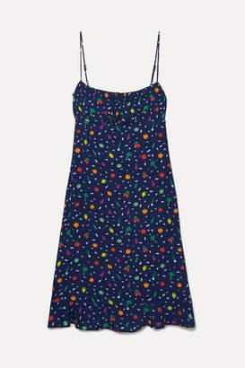 STAUD Bellini Printed Crepe Dress - Navy