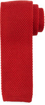 Neiman Marcus Solid Wool Tie, Dark Red