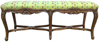 One Kings Lane Vintage French Carved & Upholstered Bench - Vermilion Designs
