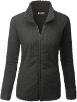 Doublju Womens Simple Design Full-Zip 3/4 Sleeve Big Size Fleece Outwear OLIVE,2XL