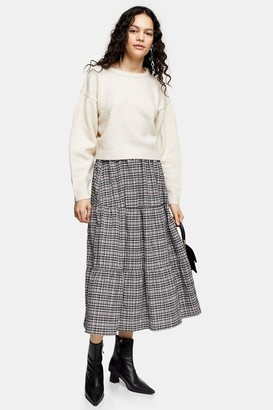 Topshop Womens Grey Check Tiered Midi Skirt - Grey