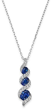 Bloomingdale's Blue Sapphire & Diamond Tiered Drop Pendant Necklace in 14K White Gold, 18 - 100% Exclusive