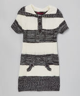 Dollhouse Black Stripe Hooded Sweater Dress - Toddler & Girls