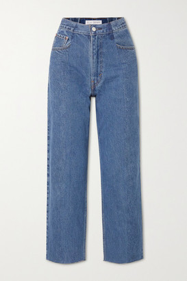 E.L.V. Denim The Boyfriend Frayed High-rise Wide-leg Jeans - Mid denim