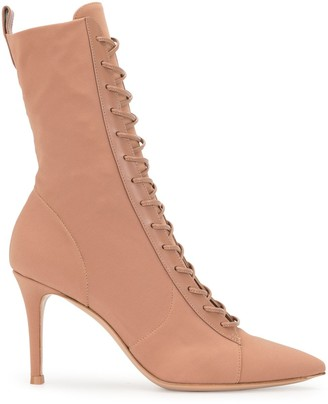 Gianvito Rossi Pointed Toe Lace-Up Boots