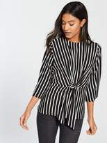 Very Jersey Stripe Knot Front Top