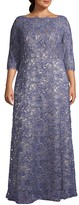 JS Collections Plus Boatneck Eyelash Lace Gown