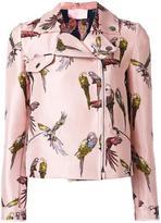 Giamba parrot print biker jacket - women - Polyester/Cupro - 38