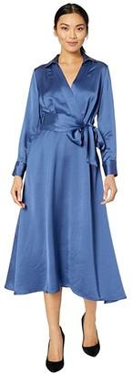 Tahari ASL Long Sleeve Charmeuse Faux Wrap Dress (Periwinkle) Women's Dress