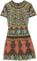 Valentino Metallic pleated embroidered tulle mini dress