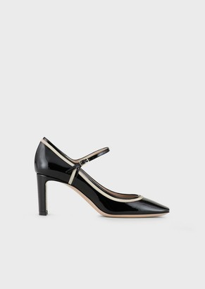 Giorgio Armani Patent-Leather Mary Janes With Graphic Design Details
