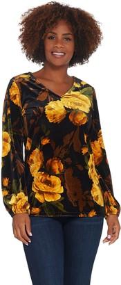 Susan Graver Printed Stretch Long Sleeve Velvet Top