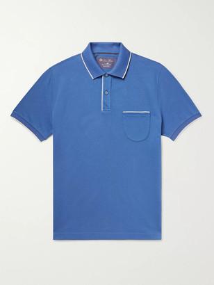 Loro Piana Contrast-Tipped Stretch-Cotton Pique Polo Shirt