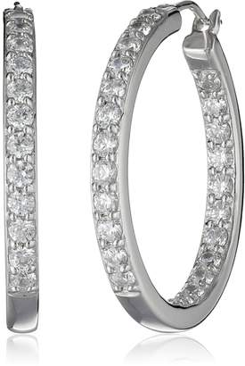 Swarovski La Lumiere Platinum Plated Sterling Silver and Made with Cubic Zirconia from 3cttw) Inside-Out Hoop Earrings