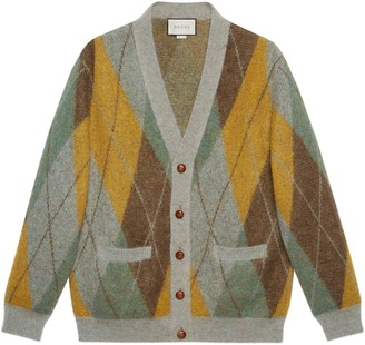 Gucci Argyle mohair wool cardigan